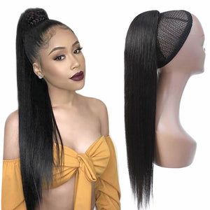 Human Hair Drawstring Ponytail Extensions Straight - goldenrulehair