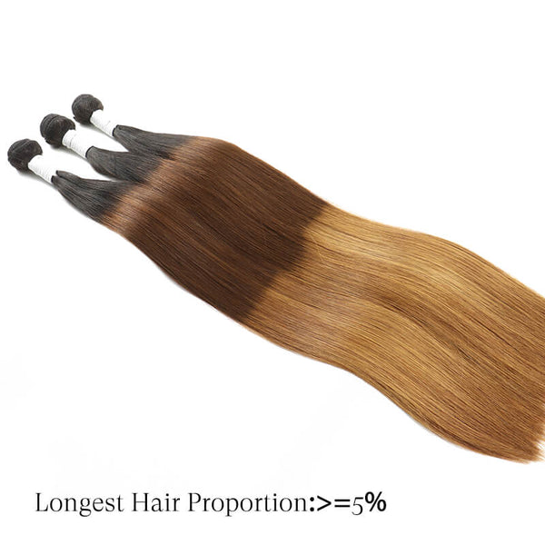 Straight Hair Bundles Brazilian Remy Human Hair Weave 10A T1B/4/27