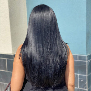 Clip in Human Hair Extensions Straight Natural Blcak - goldenrulehair