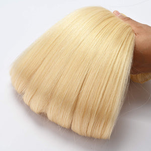 613 Clip in Human Hair Extensions Straight Honey Blonde - goldenrulehair