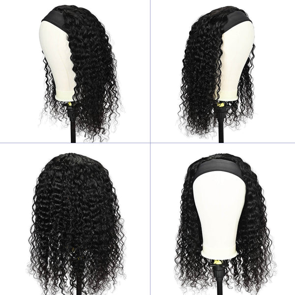 Water Wave Headband Human Hair Wig Black - goldenrulehair