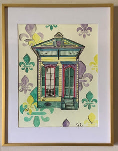 "The Mardi Gras Watercolor ""The House"""