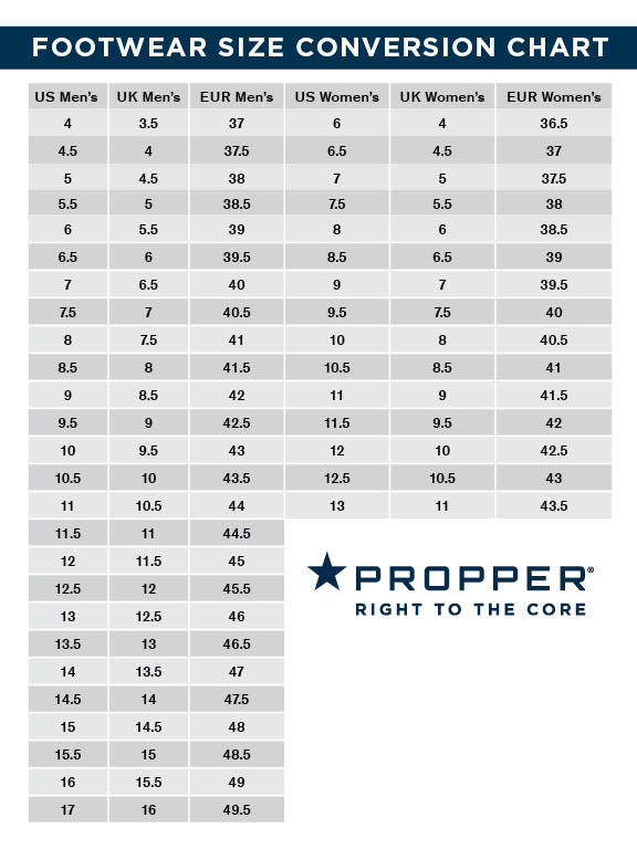 Propper Boot Size Conversion Chart