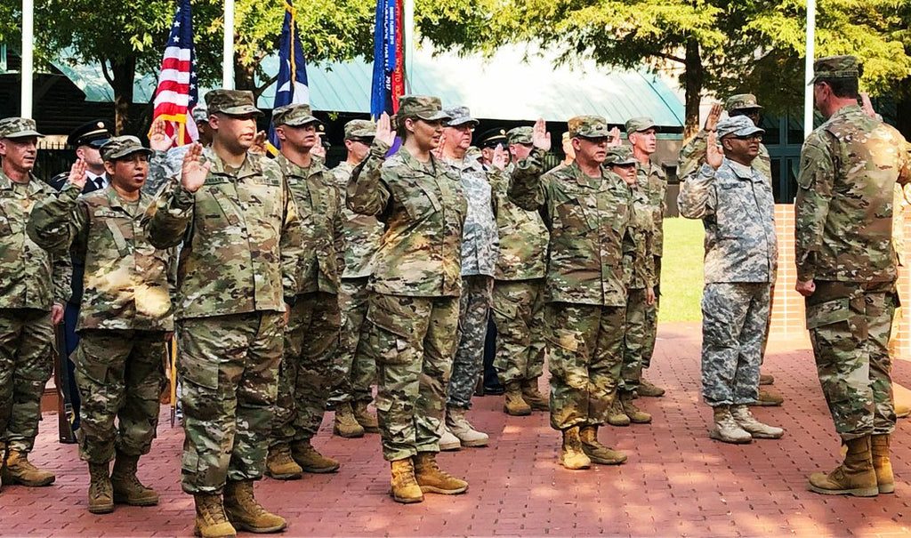 New members of the Texas State Guard swearing in outside of Minute Maid Park, September, 2019
