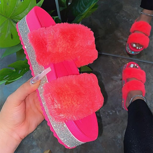 Pink Double strap Glitter Slippers