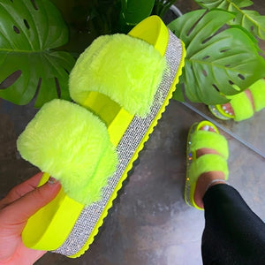 Green Double strap Glitter Slippers