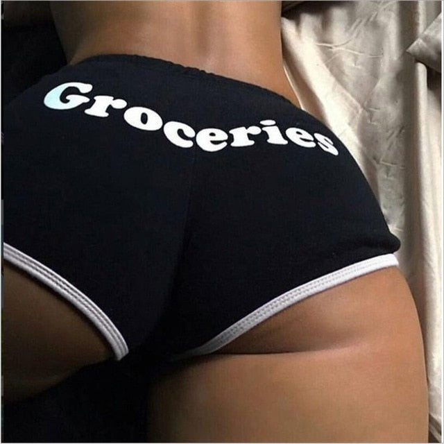 Black Groceries Snack Shorts
