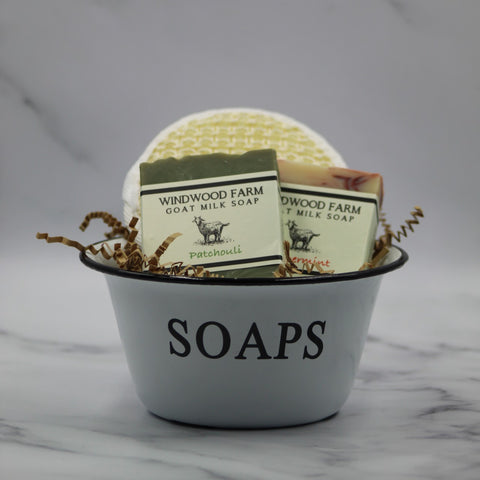 Vintage Farmhouse Soap Bowl Gift Set