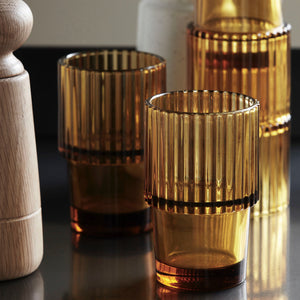 AMBER GROOVED STACKABLE TUMBLER