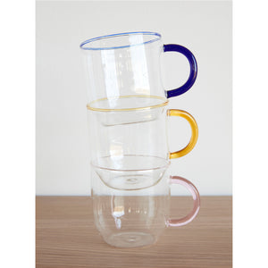 SET OF 4 COLOURED GLASS MUGS