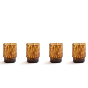 SET OF 4 AMBER TORTOISE DRINKING GLASSES