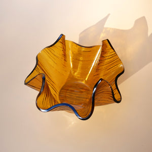 AMBER HANDKERCHIEF SHAPED GLASS DISH
