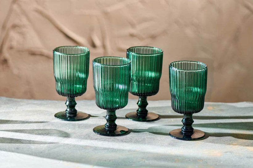 FALI RIBBED TEAL WINE GLASS