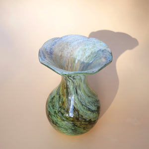 ALUM BAY GREEN MARBLED GLASS VASE