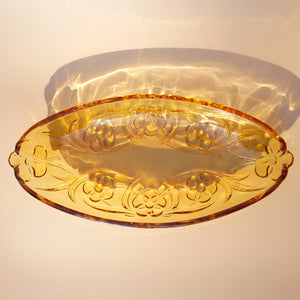 AMBER OVAL FLORAL FORMED GLASS SERVING DISH