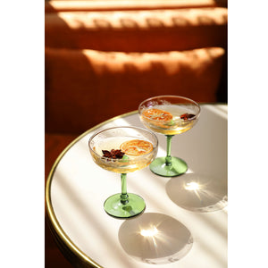 SET OF 2 GREEN CHAMPAGNE COUPES