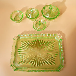 5 PIECE GREEN GLASS DRESSING TABLE SET