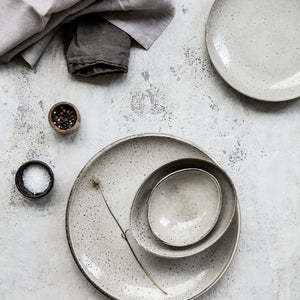 'LAKE' SPECKLED GREY LUNCH PLATE