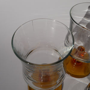 SET OF 6 FRENCH AMBER WAISTED GLASSES