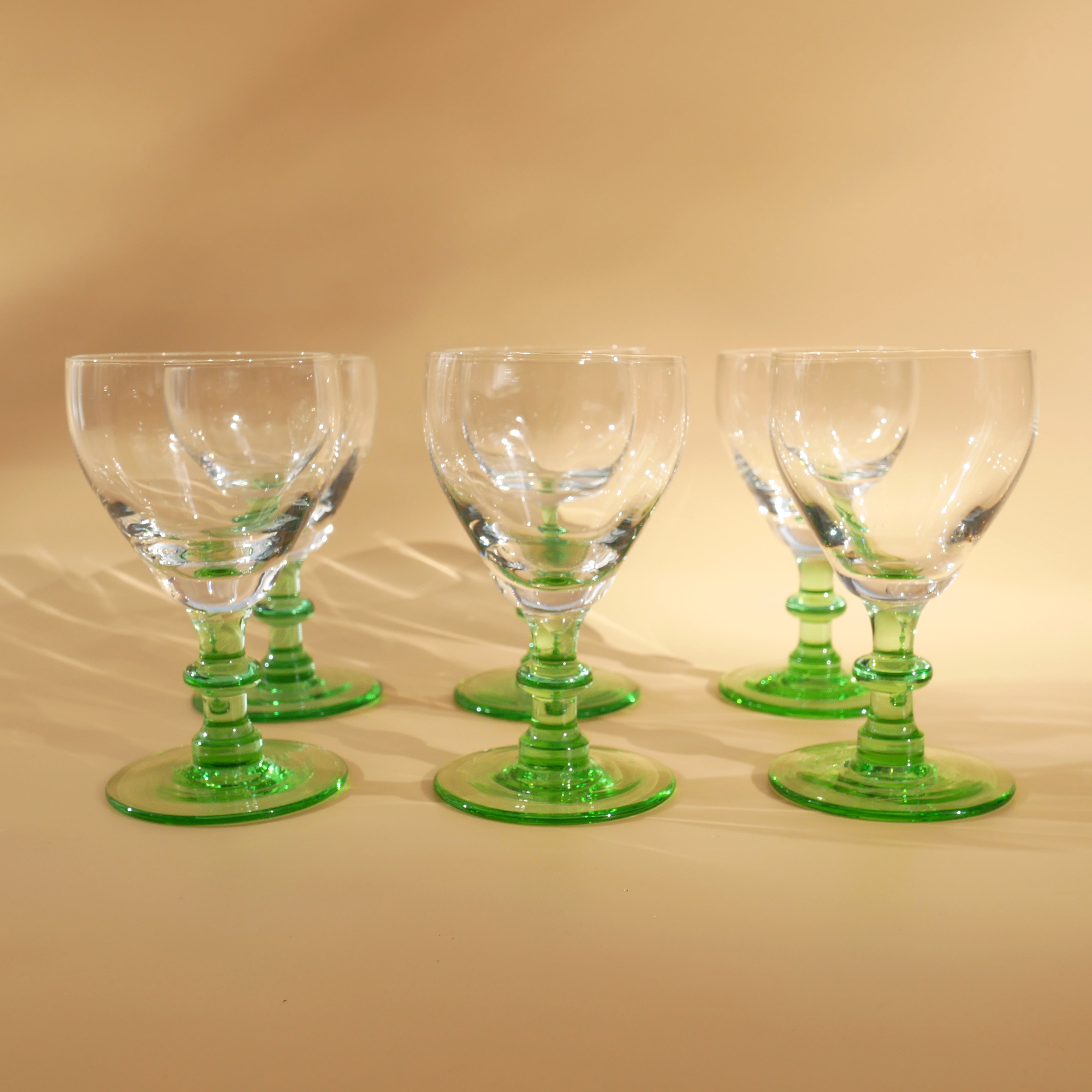 SET OF 6 VINTAGE GREEN STEMMED SHERRY GLASSES