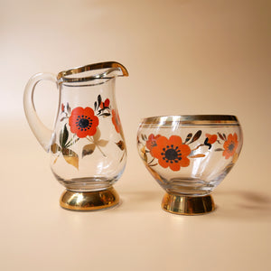 VINTAGE HAND PAINTED SUGAR BOWL AND CREAMER