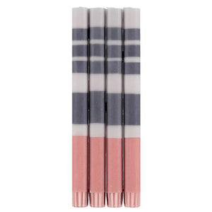 STRIPED GULL, GUNMETAL GREY & OLD ROSE ECO DINNER CANDLES