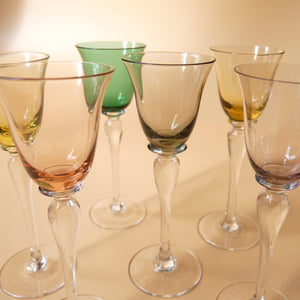 VINTAGE SET OF LONG STEMMED LIQUEUR GLASSES