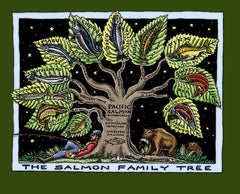 Salmon Family Tree T-Shirt (Green, Mens Cut)