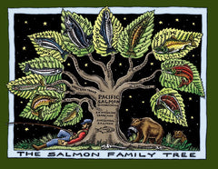 Salmon Family Tree T-Shirt (Ladies Cut)
