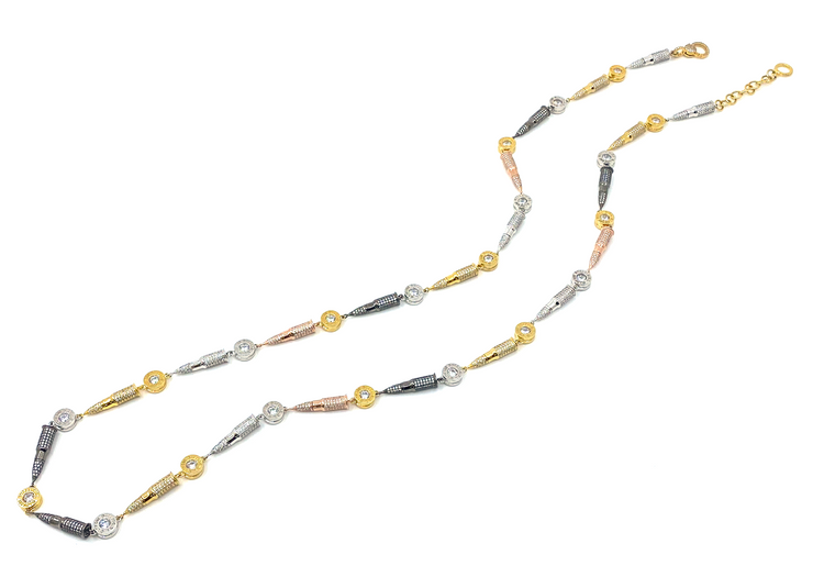 Multi-color vesper and Bullet cap long Necklace