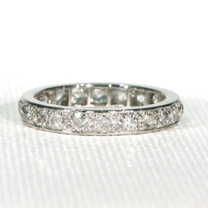 2.1cttw Old European Cut Diamond Eternity Band Ring Size 8 Platinum
