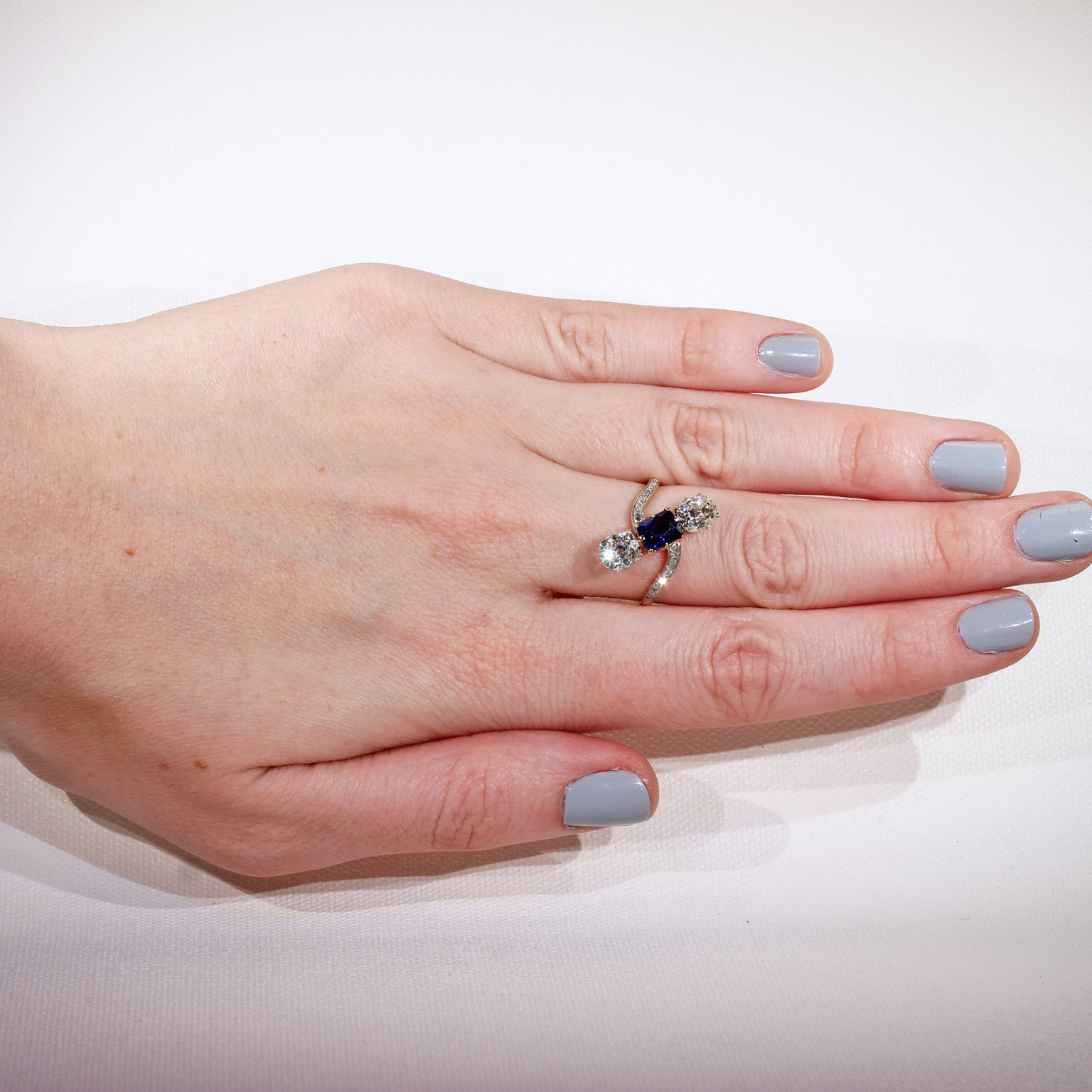 French Edwardian Diamond Sapphire Ring - Victoria Sterling Antique ...