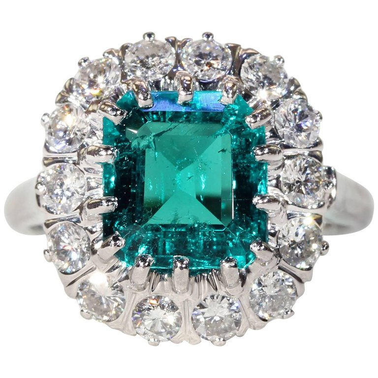 French Art Deco Columbian Emerald Diamond Cluster Ring