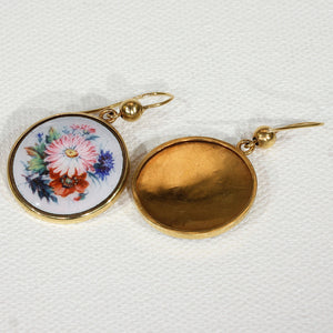 Antique Victorian Gold Enamel Flower Earrings