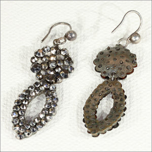 Antique Cut Steel Earrings with Silver Wires