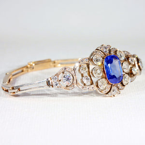 Antique Pre-Revolutionary Russian 3ct Sapphire and Diamond Bracelet in 14k Gold and Platinum
