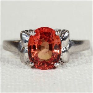 Orange Sapphire Solitaire Ring in 18k Gold Mount, English