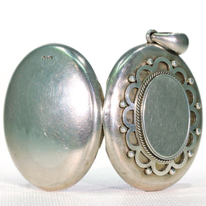 Antique Victorian Oval Silver Locket Pendant