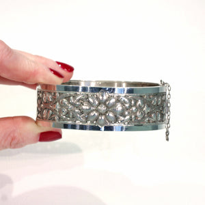 Antique French Repoussed Floral Silver Bangle