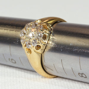 Victorian Cushion Cut Diamond Cluster Ring in 18k Gold