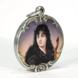 Antique Art Nouveau Silver Enamel Locket Woman Motif