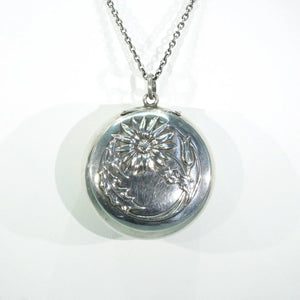 Antique Art Nouveau Thistle Pill Box Pendant Locket Silver