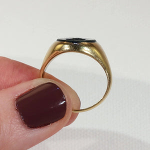 Antique Bloodstone Intaglio Ring 18k Gold