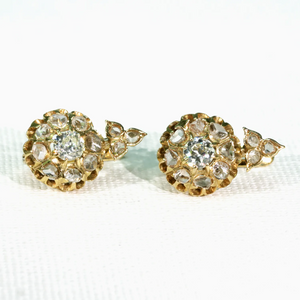 Antique Diamond Cluster Earrings 18k Gold Rose Cuts Old European Cuts