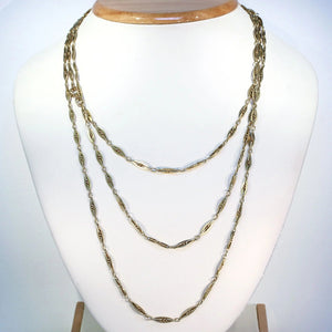 "Antique French 60"" Long Guard Chain Necklace in 18k Gold, c. 1900"