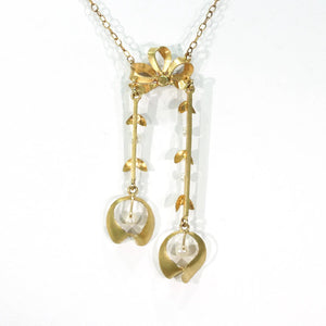 Antique French Art Nouveau Gold Pearl Necklace Mistletoe