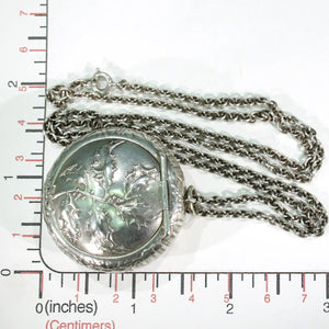 Antique French Holly Compact Pendant Locket