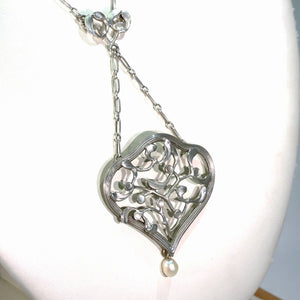Antique French Silver Mistletoe Art Nouveau Necklace