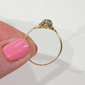 Antique French Toi et Moi Diamond Emerald Ring 18k Gold Platinum