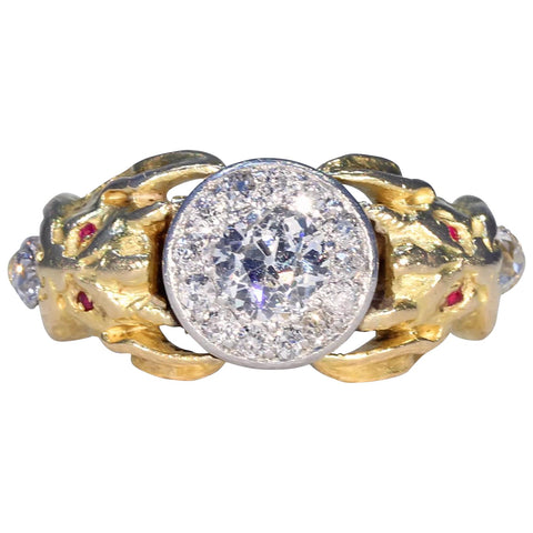 f545669bc Antique Gold Diamond Cluster Demon Ring Ruby Eyes